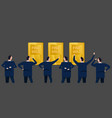 employee businessman looking together at gold bar vector image vector image