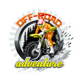 extreme red off road motorbike adventure vector image