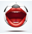 Football ball with a talking female mouth vector image vector image
