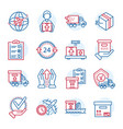global parcel delivery icon set outline style vector image vector image