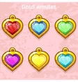 golden old amulets hearts with gems vector image vector image