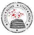 Grunge love heart stamp with Colosseum and the vector image vector image