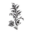 hand drawn flower with eyes isolated on white vector image vector image