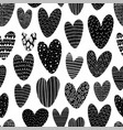 heart silhouette seamless pattern with doodles vector image