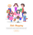 kids shopping conceptual flat web banner vector image vector image