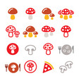mushroom color icon set - food nature vector image vector image