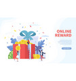 online reward landing page tiny people receives vector image