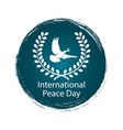 peace day logo with pigeon vector image vector image