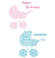 pink and blue bastrollers with floral design vector image