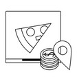 pizza fast food delivery black and white vector image