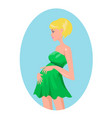 pregnant blond woman in green dress vector image
