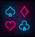 realistic isolated neon sign for blackjack cards vector image vector image