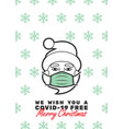 santa claus with mask and we wish you a covid-19 vector image vector image