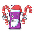 santa with candy shampo mascot cartoon style vector image