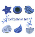 seashells in blue with text as a background vector image vector image