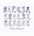 set doodle blue pen sketch christmas gift socks vector image vector image