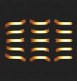 set golden ribbons on black vector image