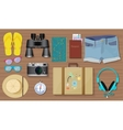 Set of travel exploring equipment stuff and tools vector image vector image