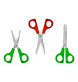 set red and green scissors icons for open vector image