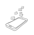 smart phone with envelopes or e-mail vector image vector image
