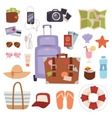 Summer vacation symbols beach travel holiday vector image vector image