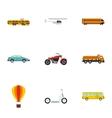 Transportation facilities icons set flat style vector image