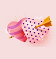two loving hearts pierced with cupid arrow vector image vector image