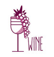 wine cup with grapes vector image vector image