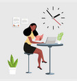 woman reading a book with computer workspace vector image