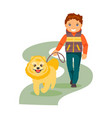 boy with a dog vector image