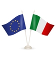 Table stand with flags of Italy and EU vector image