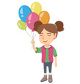 caucasian girl with the bunch of colorful balloons vector image