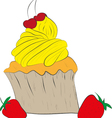 Cupcake with a Cherry on Top vector image