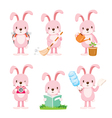 Pink Rabbit Actions Set vector image