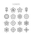 Simple monochromatic flower icon set vector image