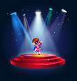 a boy dressing up as super hero at the stage vector image vector image