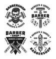barbershop set emblems badges or logos vector image vector image