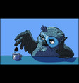 blue owl in a meditative state vector image vector image
