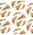botanicals pattern orange herbs leaf background ve vector image