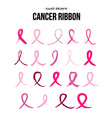 Breast cancer ribbon set in hand drawn style vector image vector image