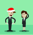 businessman in christmas hat and businesswomen vector image