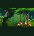 cartoon three hyenas in a tropical jungle rainfore vector image vector image