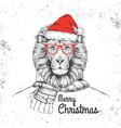 christmas hipster fashion animal lion vector image vector image