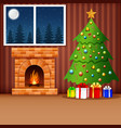 christmas living room with xmas tree presents an vector image