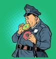 cop eats donut vector image vector image