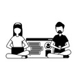couple with smartphone and social network profile vector image vector image