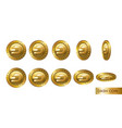 dash set of realistic 3d gold crypto coins flip vector image vector image