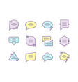 dialogue box purple yellow and blue rgb color vector image