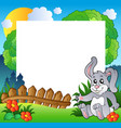 easter frame with happy bunny vector image vector image