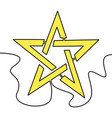 flat continuous line art gold star icon concept vector image vector image